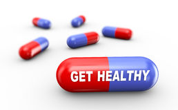 3d get helthy pills. 3d illustration of get healthy capsules Royalty Free Stock Photography