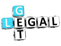 3D Get Legal Crossword Royalty Free Stock Photos