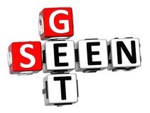 3D Get Seen Crossword Stock Photo