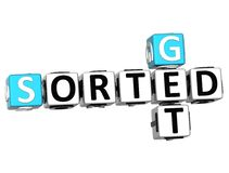 3D Get Sorted Crossword. On white backgound Royalty Free Stock Image
