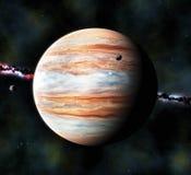 3d geven de gas reuzeplaneet en twee kleine manen, terug royalty-vrije stock afbeeldingen
