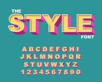 3d Gewaagde retro doopvont De uitstekende Alfabet vectorjaren '80, grafische affiche van de jaren '90 de Oude stijl royalty-vrije illustratie