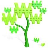 3d gewonnen teken op een boom Stock Afbeelding