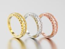 3D giallo differente dell'illustrazione tre, oro rosa e bianco o anello di diamante decorativo d'argento con l'ornamento dei cuor illustrazione di stock