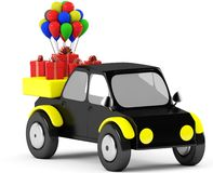 3D Gift with balls in a black car. On a white background Royalty Free Stock Image
