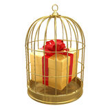 3d Gift in a birdcage Royalty Free Stock Image