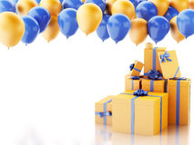 3d gift box with baloons on white background Stock Photo