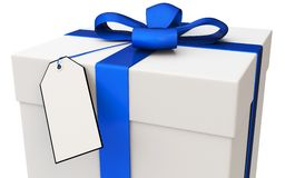 3d gift box with blank tag Stock Photo