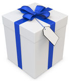 3d gift box with blank tag Stock Photography