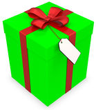 3d gift box with blank tag Royalty Free Stock Photo