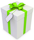 3d gift box with blank tag Stock Image