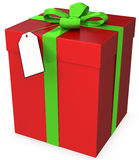 3d gift box with blank tag Royalty Free Stock Images