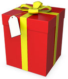 3d gift box with blank tag Royalty Free Stock Image