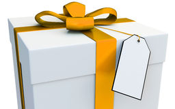 3d gift box with blank tag Stock Photos
