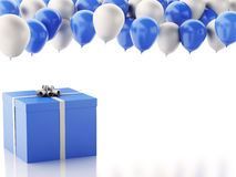 3d gift box with blue and white baloons on white background Stock Photos