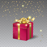 3D gift box and confetti Royalty Free Stock Photo