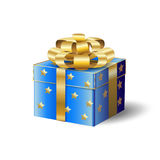 3D gift box and gold ribbon Royalty Free Stock Image