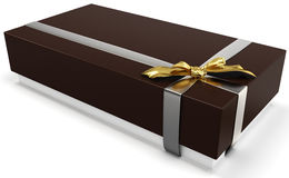 3d gift box with golden bow Stock Images