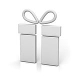 3d gift box icon on white background with reflection and shadow Royalty Free Stock Photography