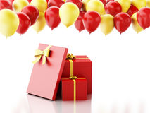 3d gift box with red and yellow baloons on white background Royalty Free Stock Photography
