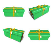 3D gift box set in lime green rectangle. 3D Icon Design Series. Royalty Free Stock Photo