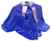3d gift box under blue  cloth Royalty Free Stock Photography