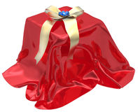 3d gift box under red cloth Stock Photography