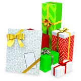 3d gift boxed with blank tag Royalty Free Stock Photos