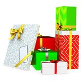 3d gift boxed with blank tag Royalty Free Stock Image