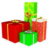 3d gift boxed with blank tag Royalty Free Stock Photo