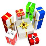 3d gift boxed with blank tag Stock Photos