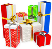 3d gift boxed with blank tag Stock Photo