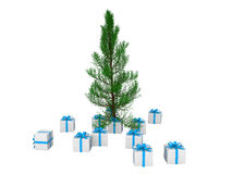 3d gift boxes and Christmas tree. 3d render of gift boxes and Christmas tree Royalty Free Stock Photography