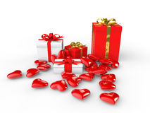 3d gift boxes and heart shapes. 3d render of gift boxes and heart shapes Royalty Free Stock Image