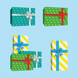 3D Gift Boxes Presents With Silver Ribbon Bow. 3D Gift Boxes Presents vector Stock Image