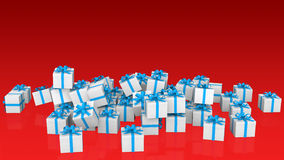 3d gift boxes on red background. 3d render of gift boxes on red background Royalty Free Stock Photography