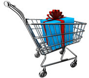 3D gift boxes in shopping cart Royalty Free Stock Image