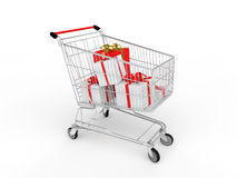 3d gift boxes in shopping cart. 3d render of gift boxes in shopping cart Royalty Free Stock Photos