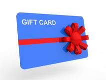 3d gift card with ribbon. 3d render of gift card with red ribbon Royalty Free Stock Photography