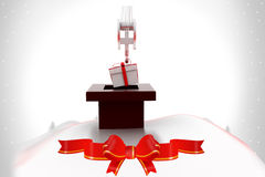 3d gift with crane illustration Stock Image
