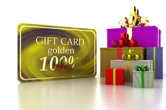 3D gift gold card 100 percent discount and boxs. Gift gold card 100 percent discount and boxs. 3d render Stock Images