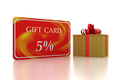 3D gift red card 5 percent discount and box Stock Image