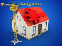 3d gift ribbon. 3d illustration of generic house over blue background with gift ribbon and crane Royalty Free Stock Photos
