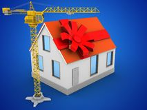 3d gift ribbon. 3d illustration of house red roof over blue background with gift ribbon and crane Stock Photo