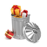 3d Gift trash can Stock Photo