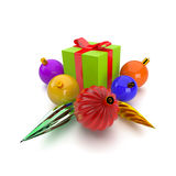 3D giftbox and christmas balls Stock Photo