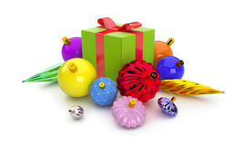 3D giftbox and christmas balls Royalty Free Stock Photography