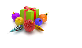 3D giftbox and christmas balls Stock Image