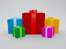 3d gifts in multi color packing Stock Photo