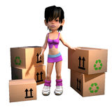 3d Girl with cardboard boxes to deliver Stock Photography
